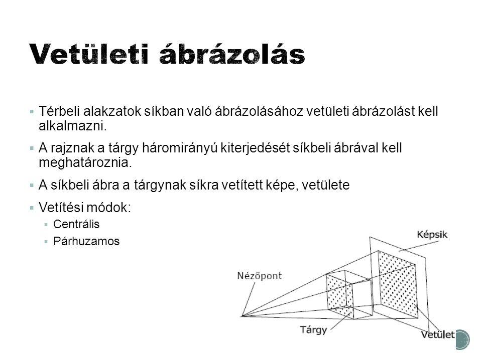 Vetületi ábrázolás Térbeli alakzatok síkban való ábrázolásához vetületi ábrázolást kell alkalmazni.