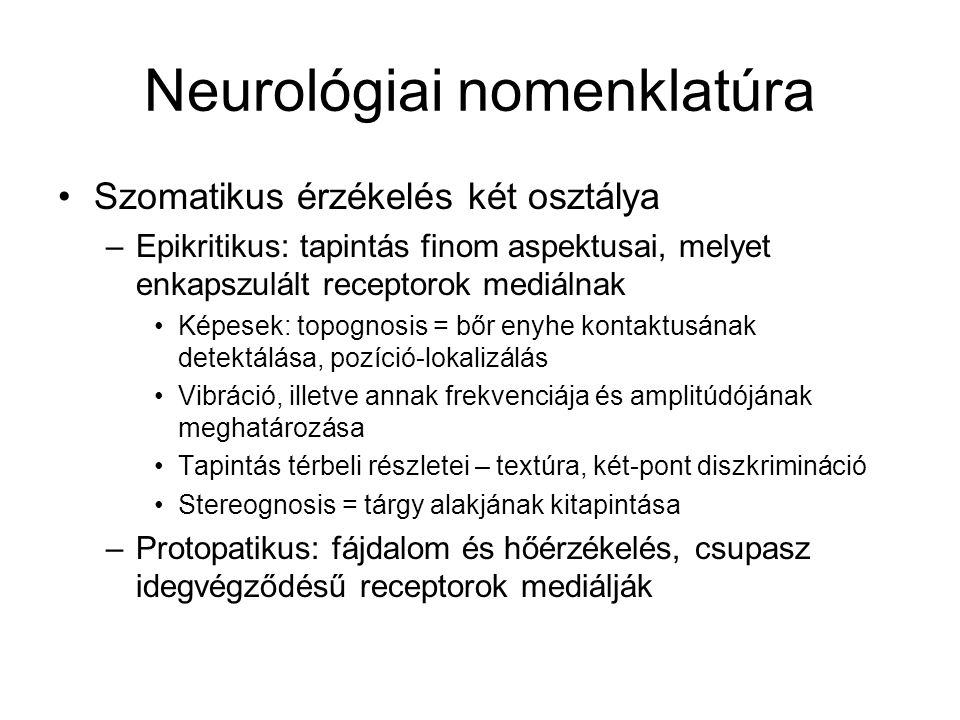 Neurológiai nomenklatúra