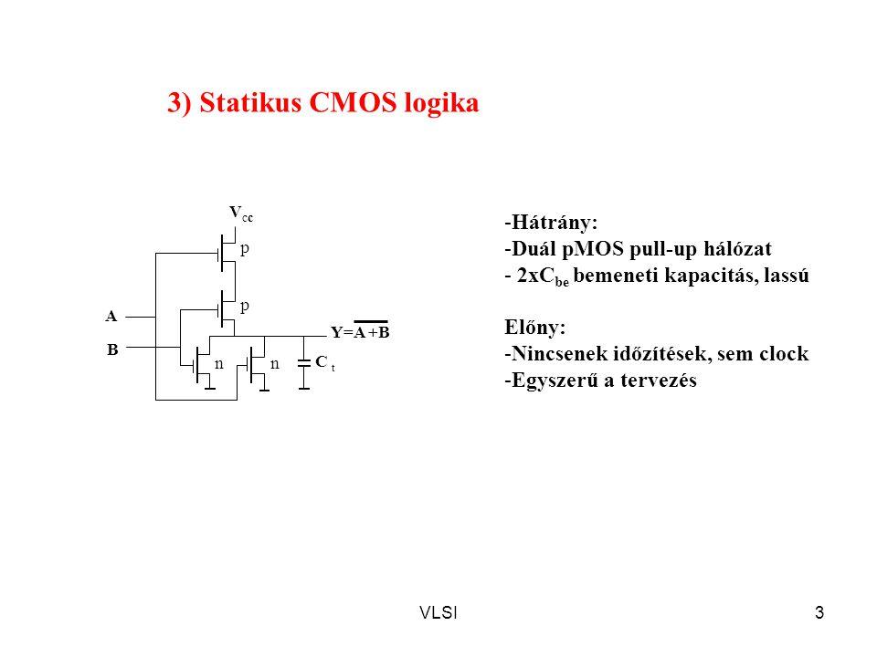 3) Statikus CMOS logika Hátrány: Duál pMOS pull-up hálózat