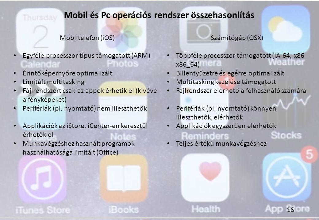 Mobil és Pc operációs rendszer összehasonlítás