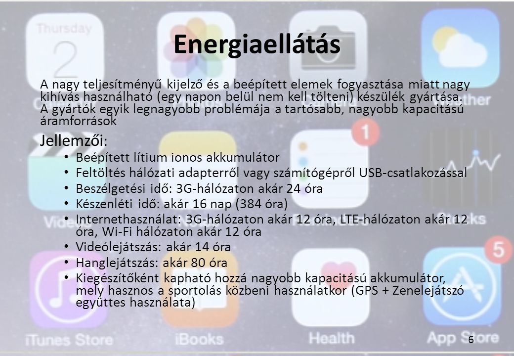 Energiaellátás Jellemzői:
