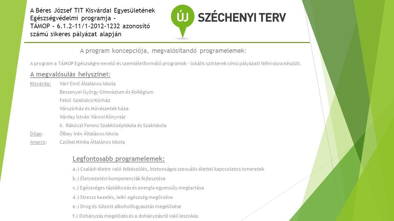 A program koncepciója, megvalósítandó programelemek: