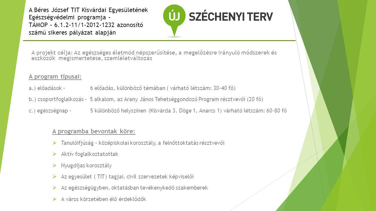 A Béres József TIT Kisvárdai Egyesületének Egészségvédelmi programja –