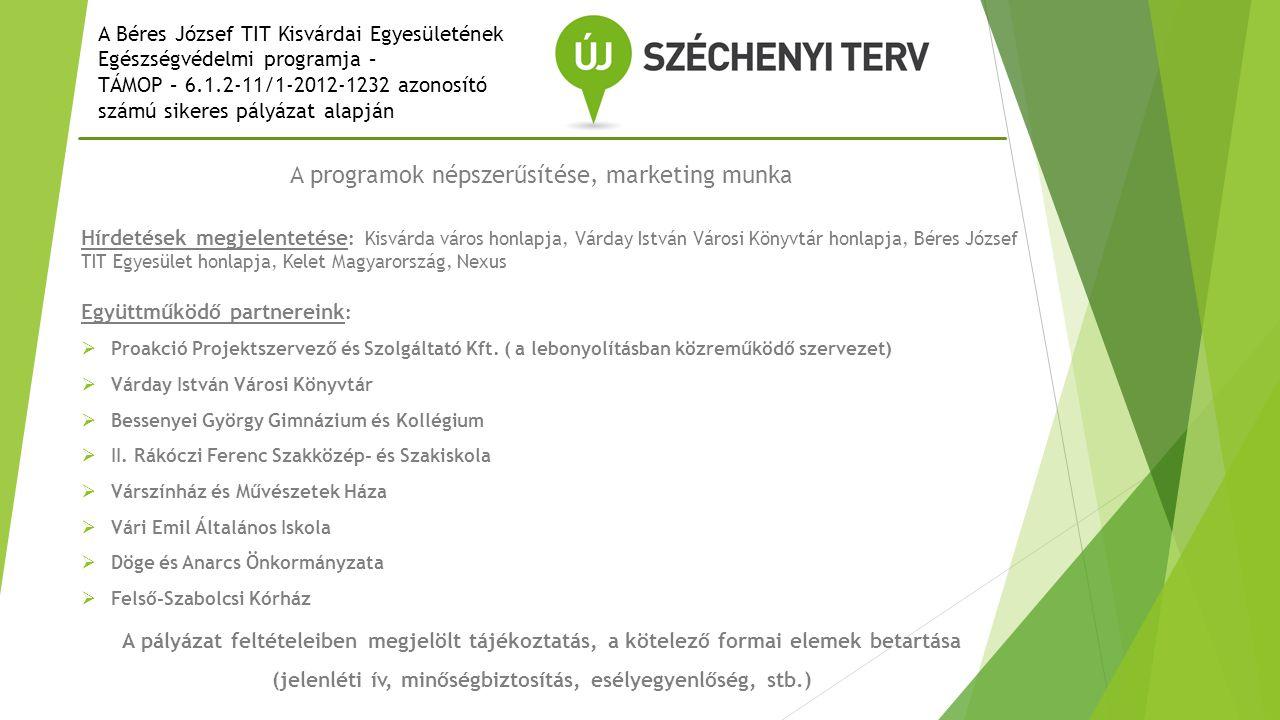 A programok népszerűsítése, marketing munka