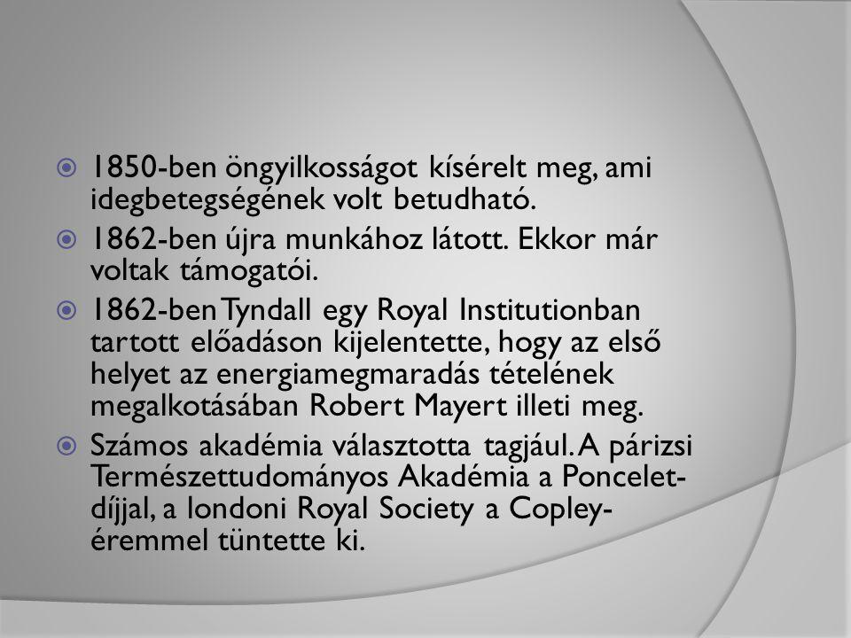1850-ben öngyilkosságot kísérelt meg, ami idegbetegségének volt betudható.
