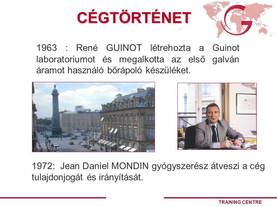 CÉGTÖRTÉNET 1963 : René GUINOT létrehozta a Guinot laboratoriumot és megalkotta az első galván áramot használó bőrápoló készüléket.