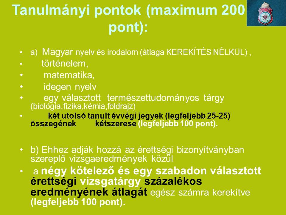 Tanulmányi pontok (maximum 200 pont):