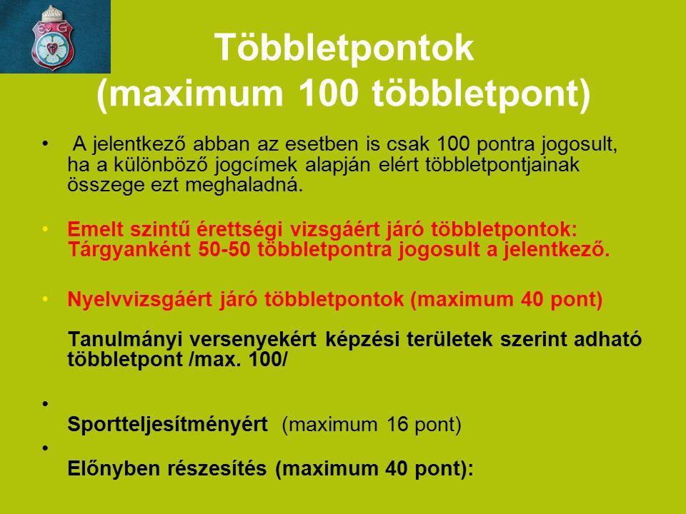 Többletpontok (maximum 100 többletpont)