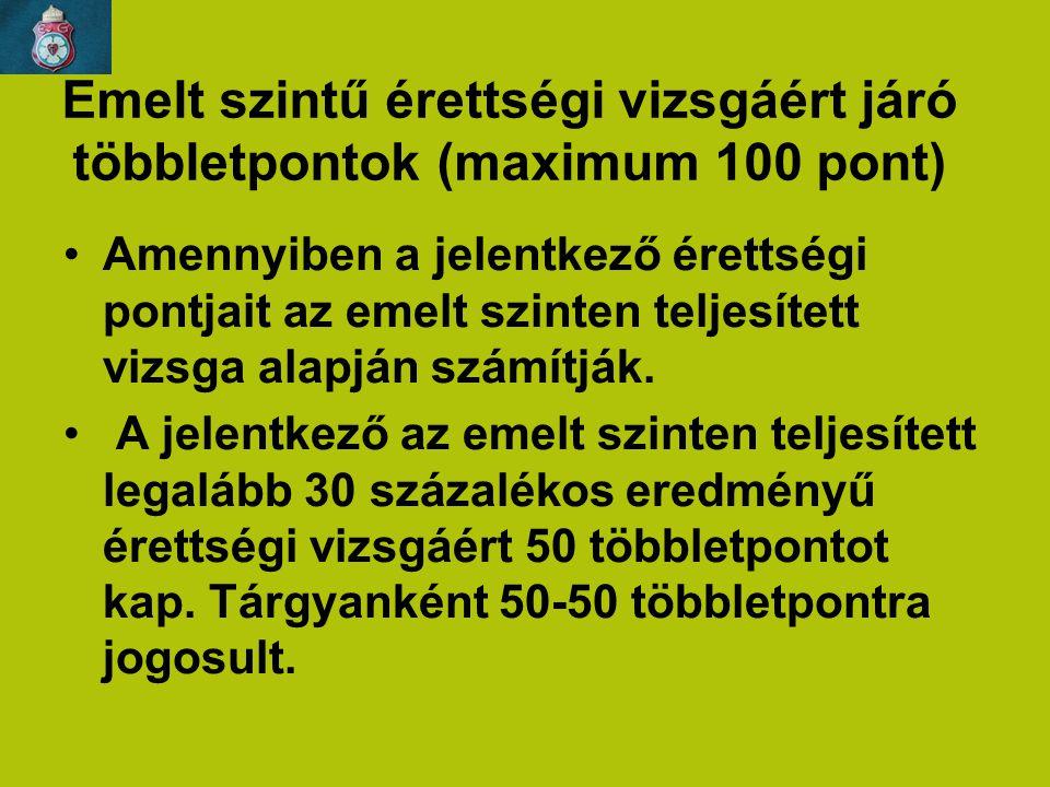 Emelt szintű érettségi vizsgáért járó többletpontok (maximum 100 pont)