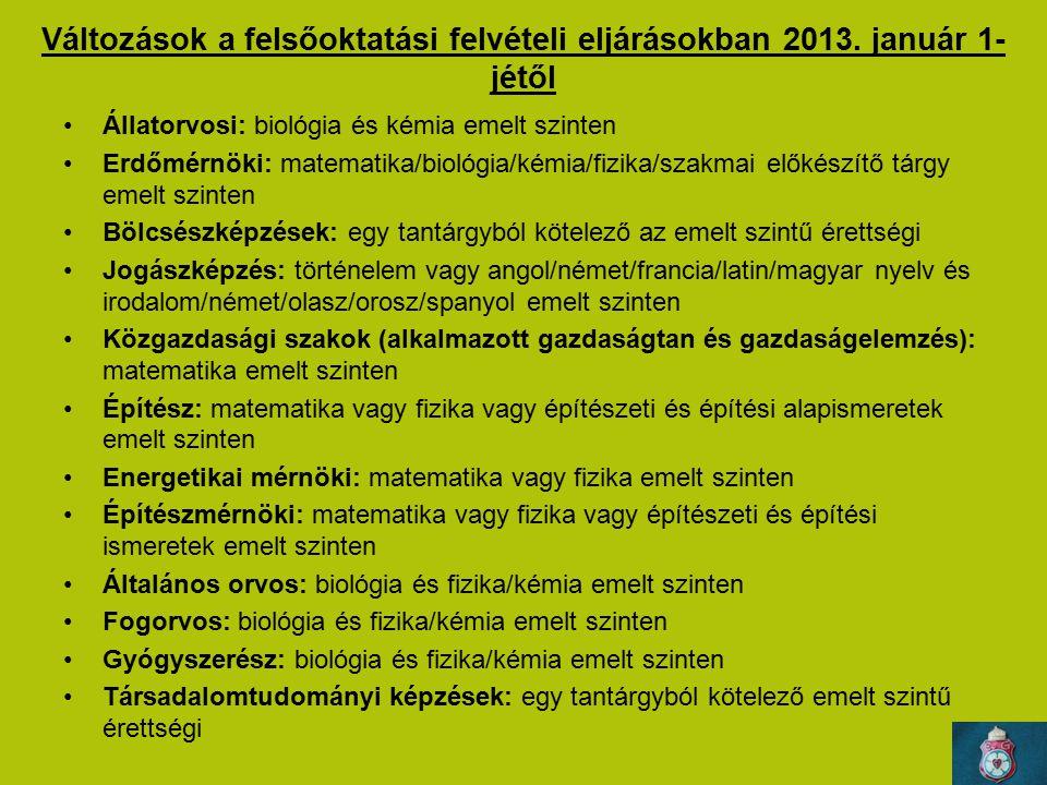 Változások a felsőoktatási felvételi eljárásokban 2013. január 1-jétől