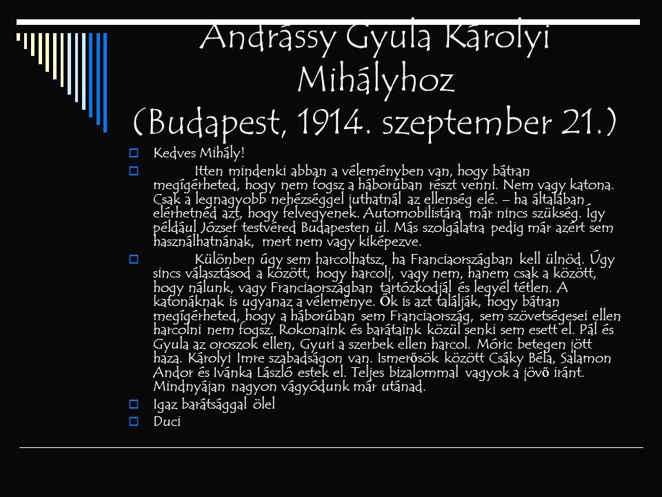 Andrássy Gyula Károlyi Mihályhoz (Budapest, 1914. szeptember 21.)