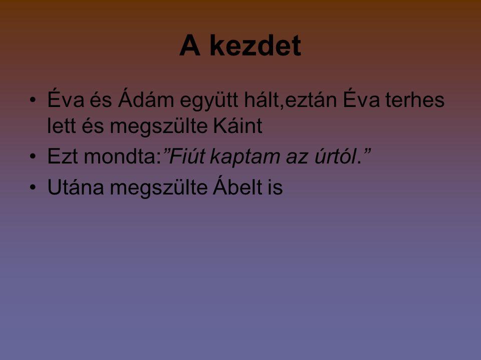 A kezdet Éva és Ádám együtt hált,eztán Éva terhes lett és megszülte Káint. Ezt mondta: Fiút kaptam az úrtól.