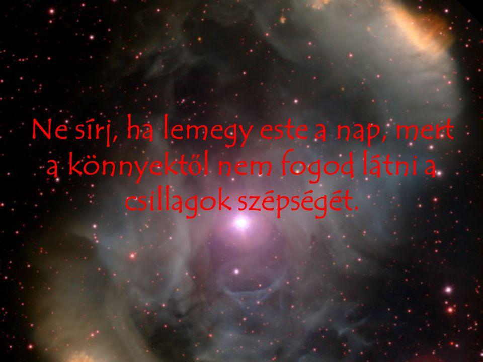 Ne sírj, ha lemegy este a nap, mert a könnyektől nem fogod látni a csillagok szépségét.