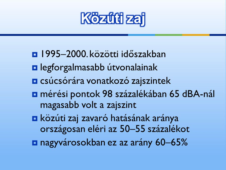 Közúti zaj 1995–2000. közötti időszakban legforgalmasabb útvonalainak