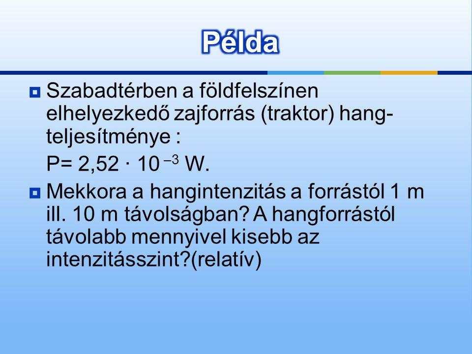 Példa Szabadtérben a földfelszínen elhelyezkedő zajforrás (traktor) hang-teljesítménye : P= 2,52 · 10 –3 W.