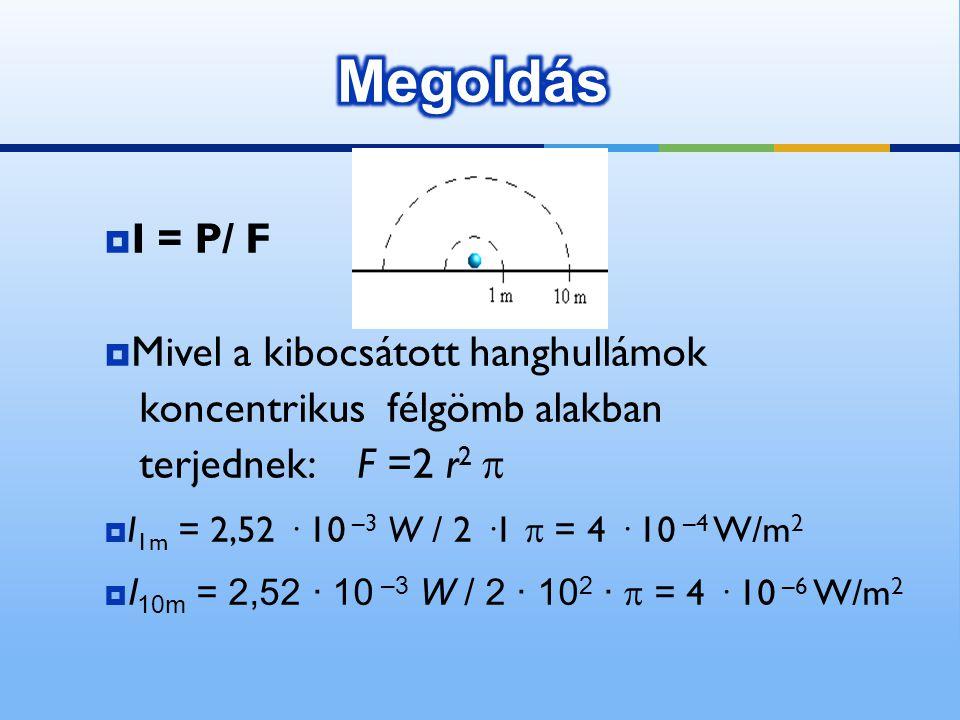 Megoldás I = P/ F Mivel a kibocsátott hanghullámok