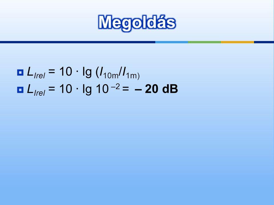 Megoldás LIrel = 10 · lg (I10m/I1m) LIrel = 10 · lg 10 –2 = – 20 dB