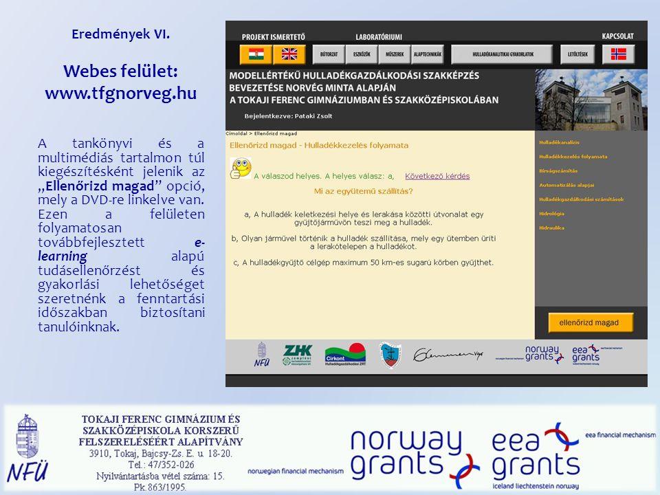 Eredmények VI. Webes felület: www.tfgnorveg.hu