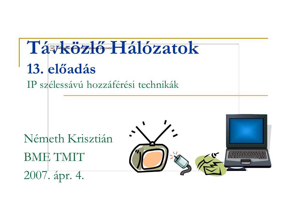 Távközlő Hálózatok 13. előadás IP szélessávú hozzáférési technikák