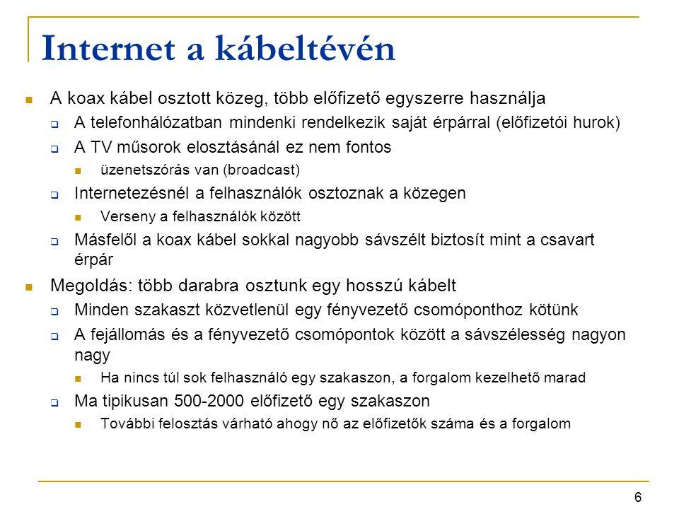 Internet a kábeltévén A koax kábel osztott közeg, több előfizető egyszerre használja.
