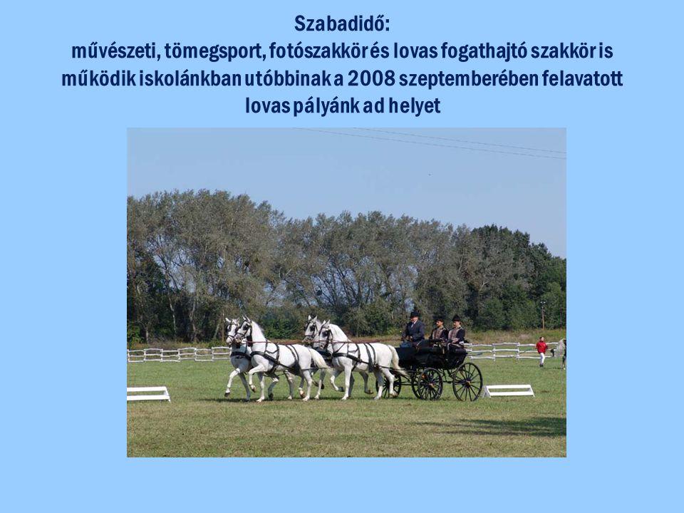 Szabadidő: művészeti, tömegsport, fotószakkör és lovas fogathajtó szakkör is működik iskolánkban utóbbinak a 2008 szeptemberében felavatott lovas pályánk ad helyet