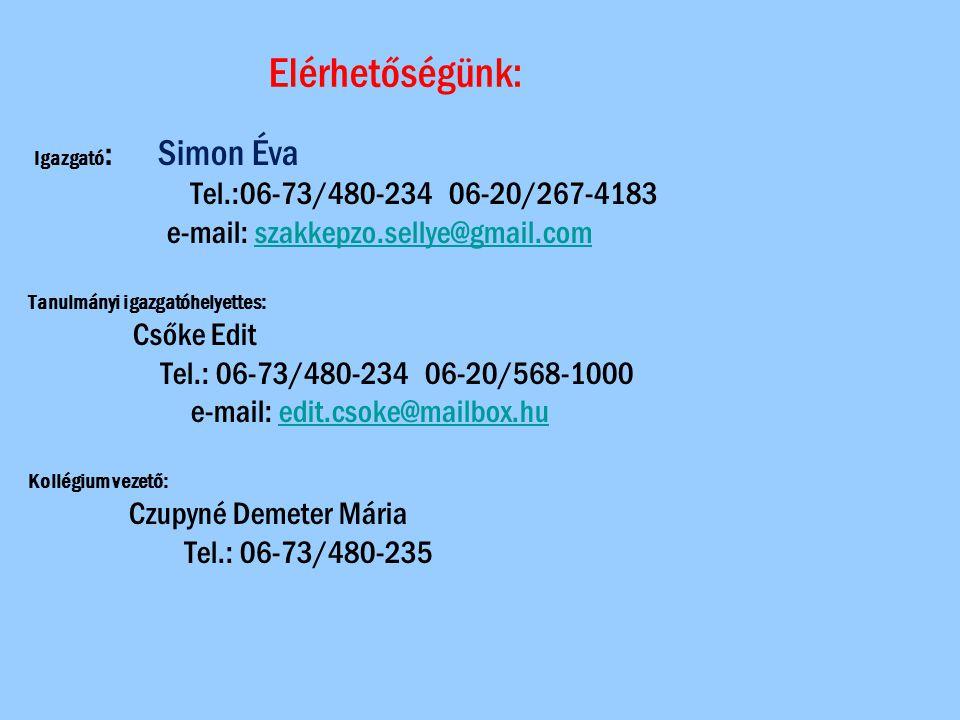 Elérhetőségünk: Tel.:06-73/480-234 06-20/267-4183