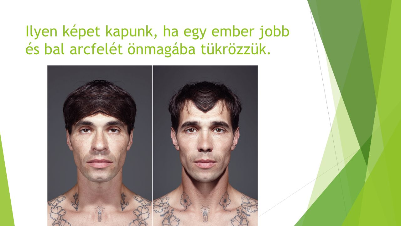Ilyen képet kapunk, ha egy ember jobb és bal arcfelét önmagába tükrözzük.