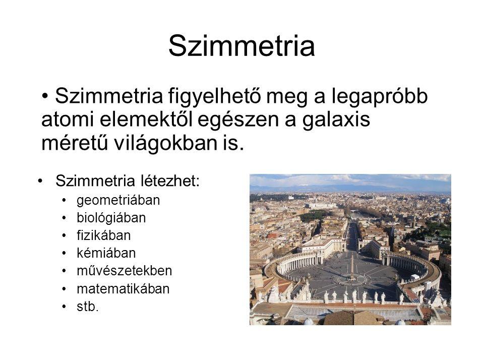 Szimmetria Szimmetria figyelhető meg a legapróbb atomi elemektől egészen a galaxis méretű világokban is.