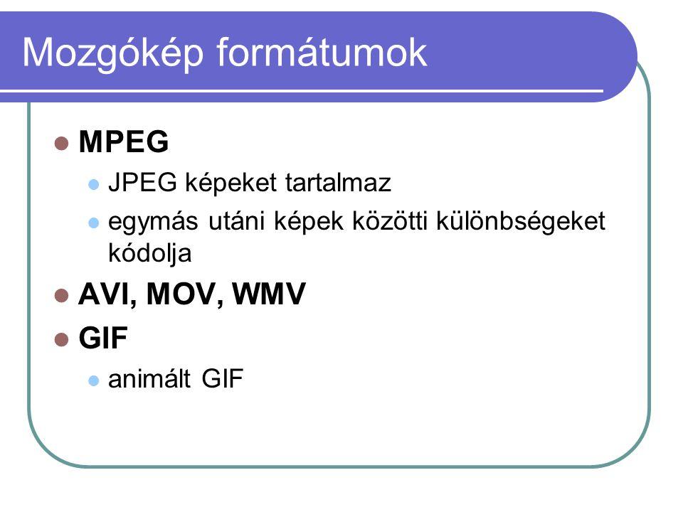 Mozgókép formátumok MPEG AVI, MOV, WMV GIF JPEG képeket tartalmaz
