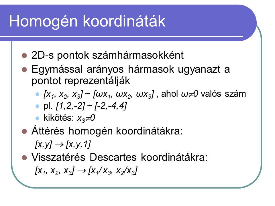 Homogén koordináták 2D-s pontok számhármasokként