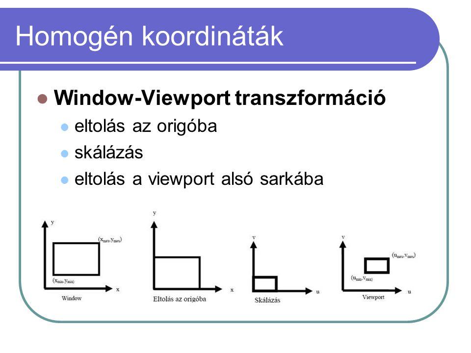 Homogén koordináták Window-Viewport transzformáció eltolás az origóba