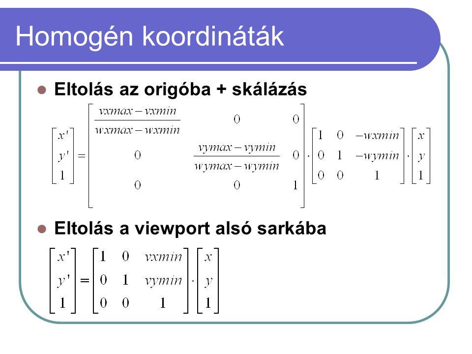 Homogén koordináták Eltolás az origóba + skálázás
