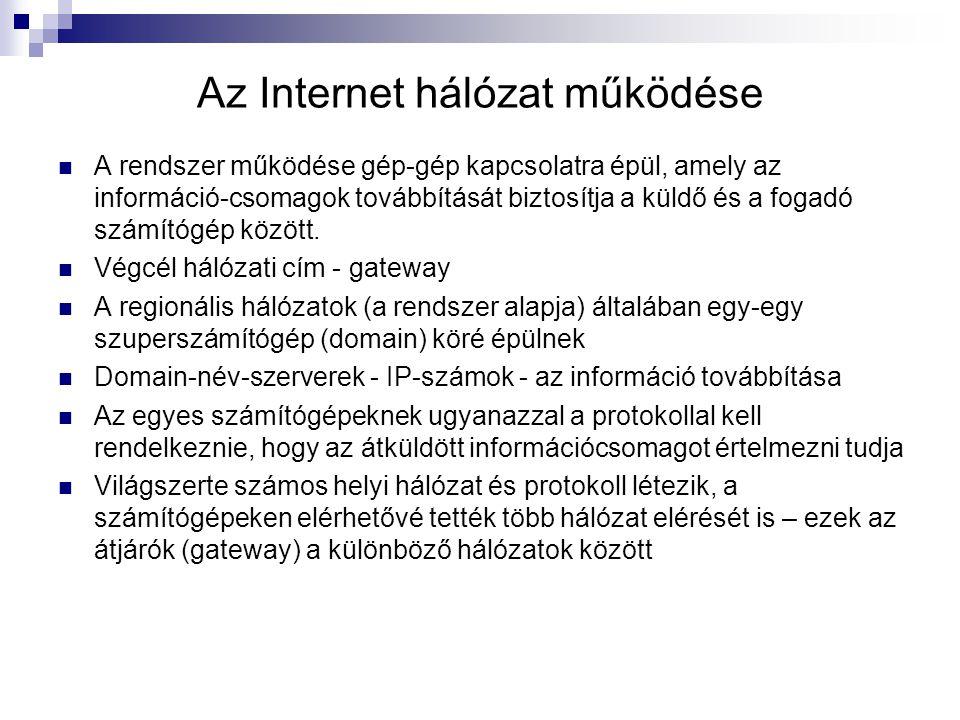 Az Internet hálózat működése
