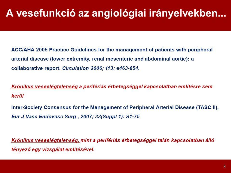 A vesefunkció az angiológiai irányelvekben...