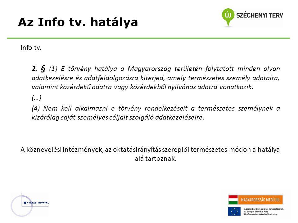 Az Info tv. hatálya Info tv.