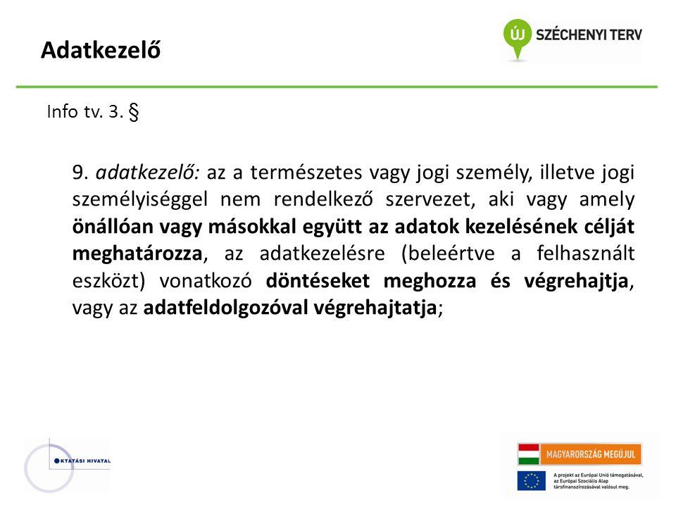 Adatkezelő Info tv. 3. §