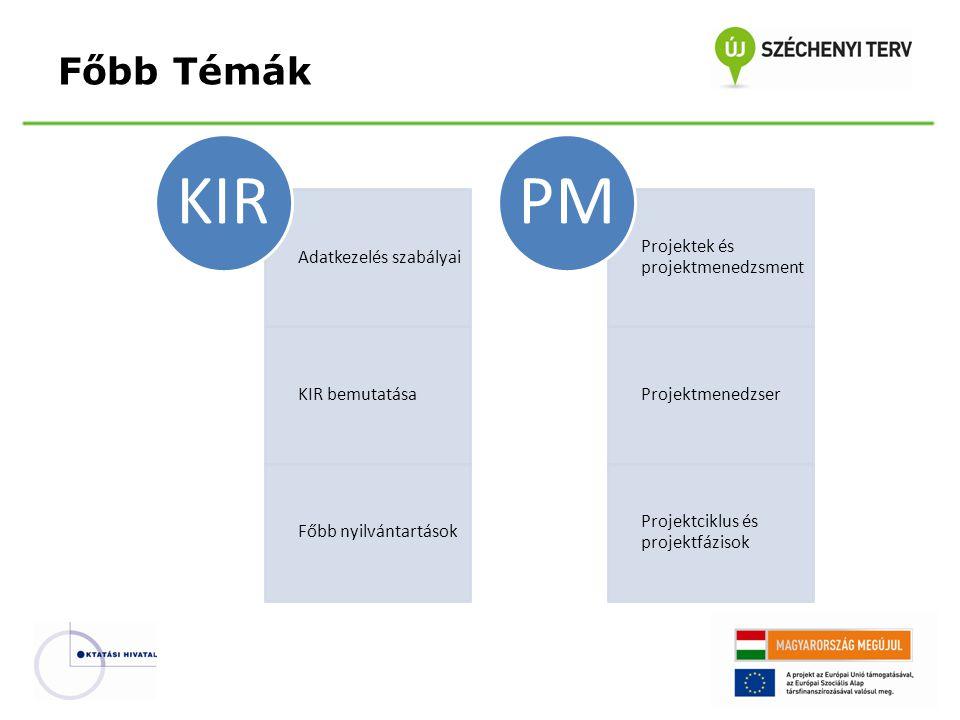 KIR PM Főbb Témák Adatkezelés szabályai KIR bemutatása