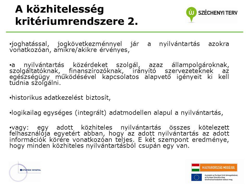 A közhitelesség kritériumrendszere 2.