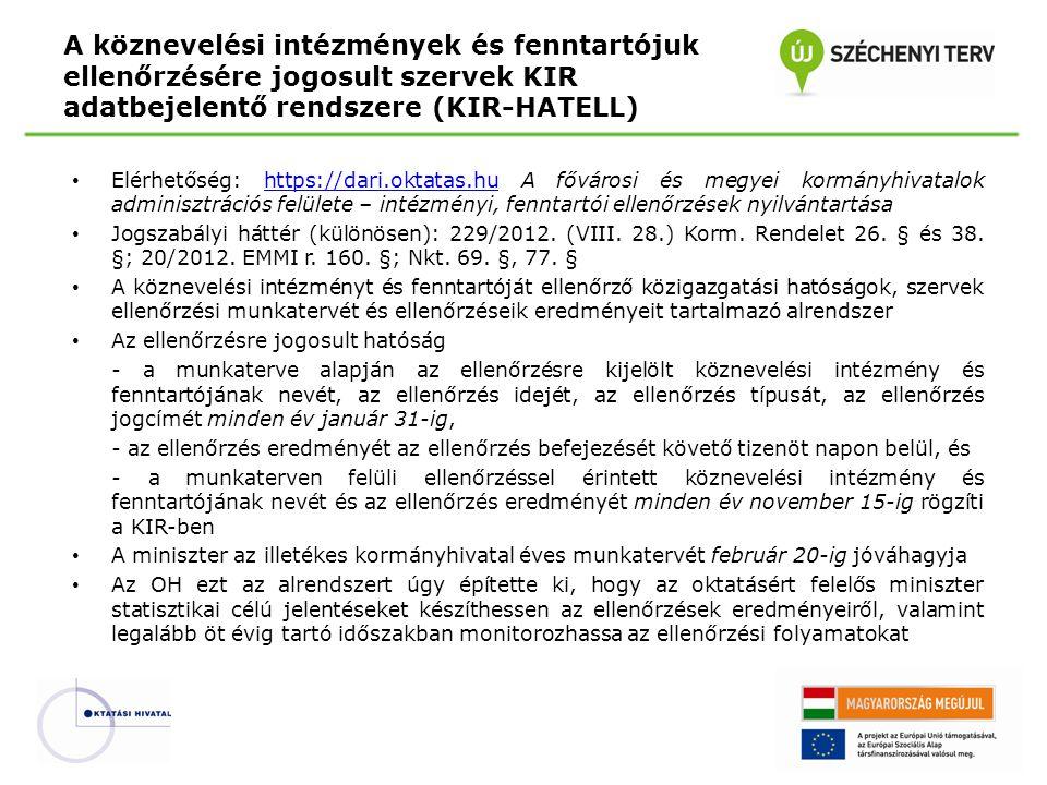 A köznevelési intézmények és fenntartójuk ellenőrzésére jogosult szervek KIR adatbejelentő rendszere (KIR-HATELL)