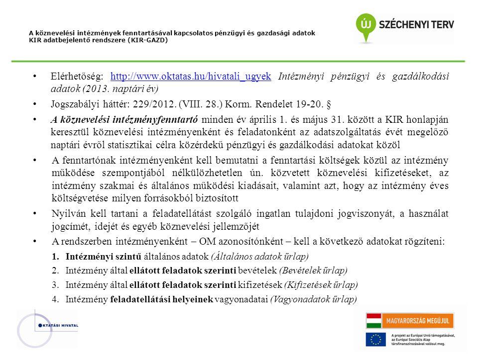 Jogszabályi háttér: 229/2012. (VIII. 28.) Korm. Rendelet 19-20. §
