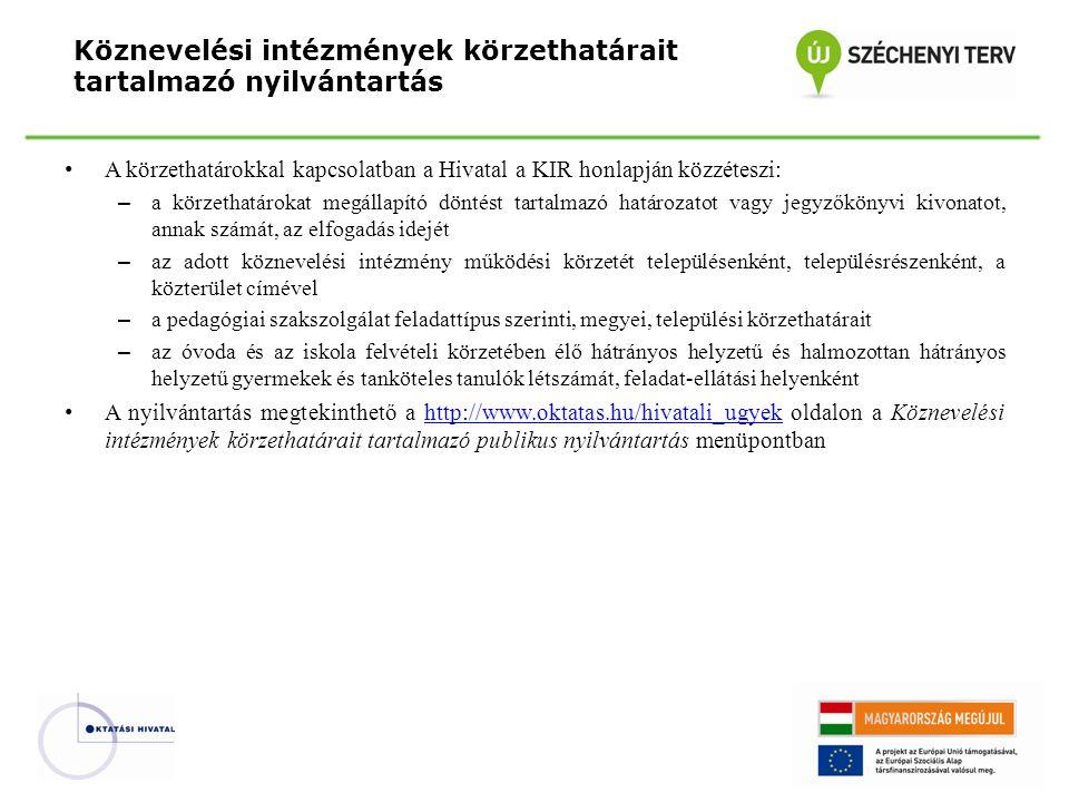 Köznevelési intézmények körzethatárait tartalmazó nyilvántartás
