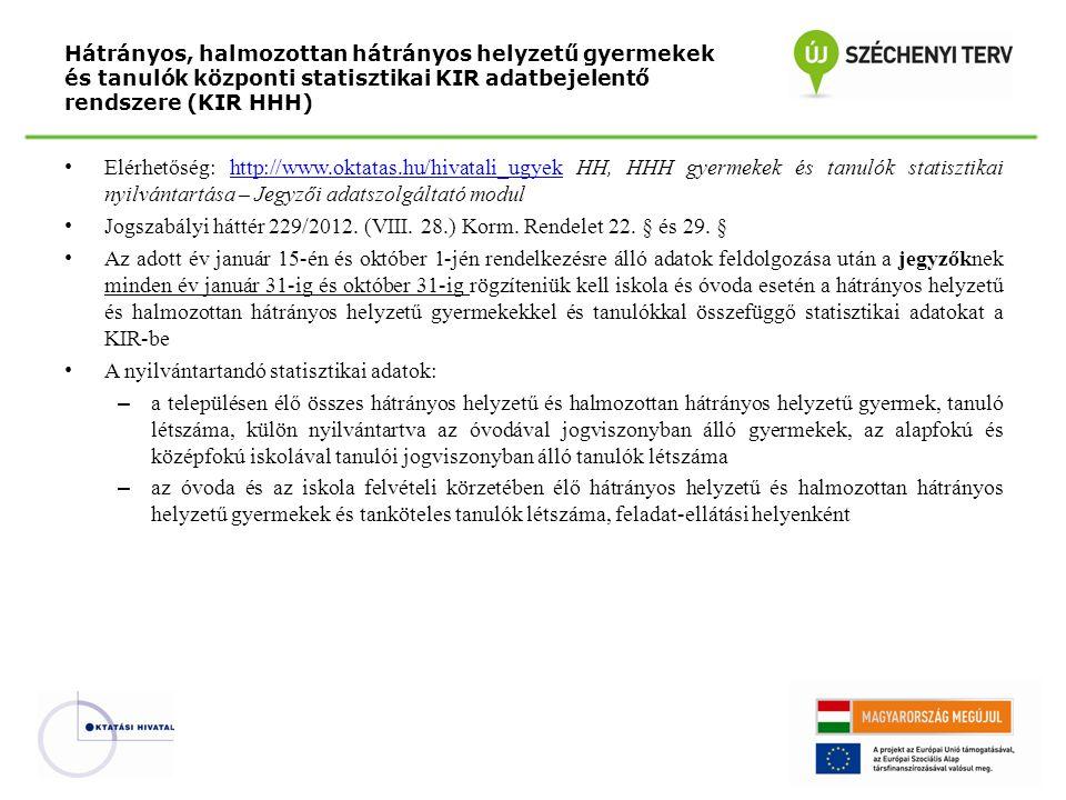 Jogszabályi háttér 229/2012. (VIII. 28.) Korm. Rendelet 22. § és 29. §