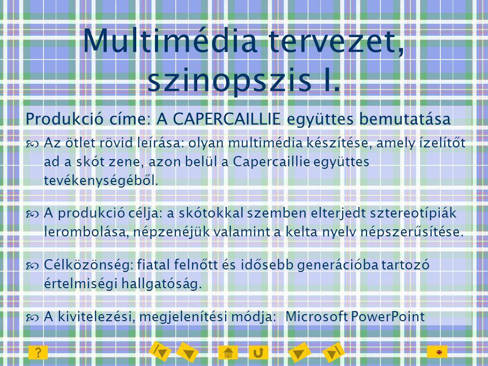 Multimédia tervezet, szinopszis I.