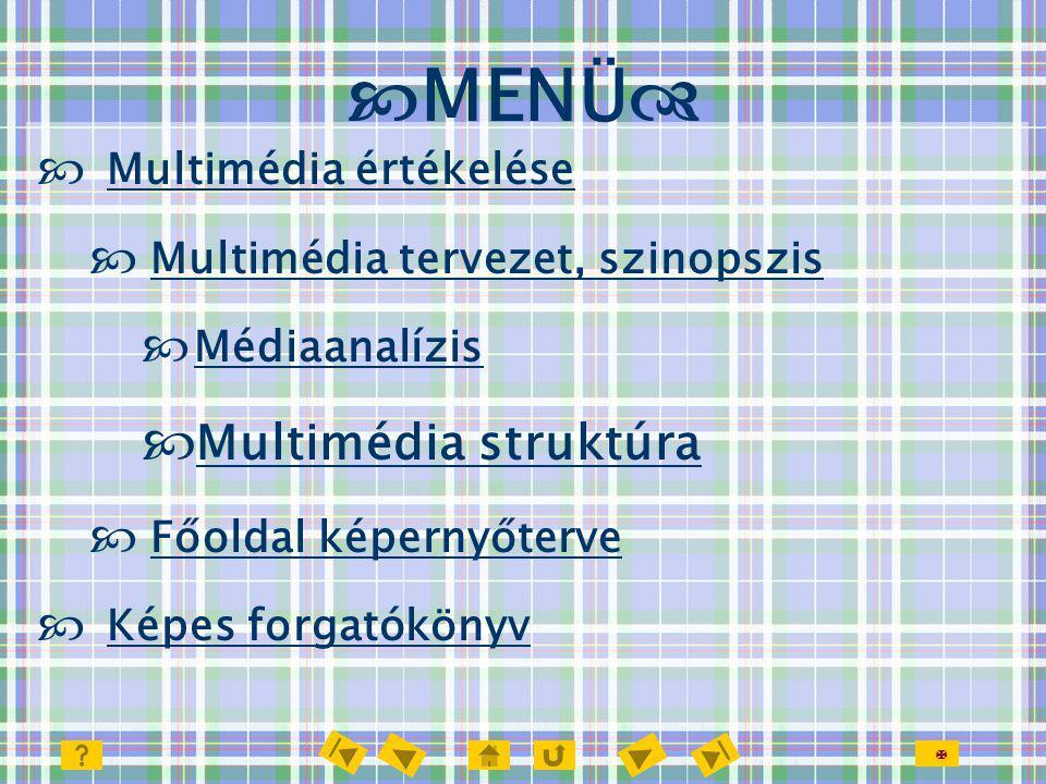 MENÜ Multimédia struktúra Multimédia értékelése