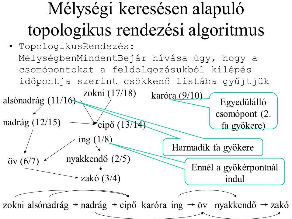 Mélységi keresésen alapuló topologikus rendezési algoritmus