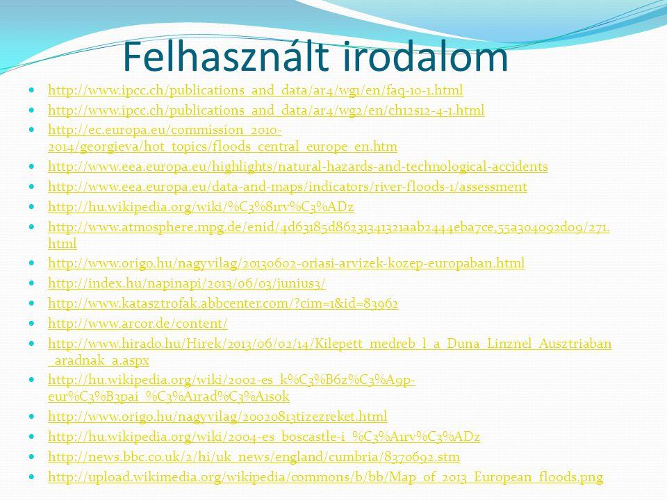 Felhasznált irodalom http://www.ipcc.ch/publications_and_data/ar4/wg1/en/faq-10-1.html.