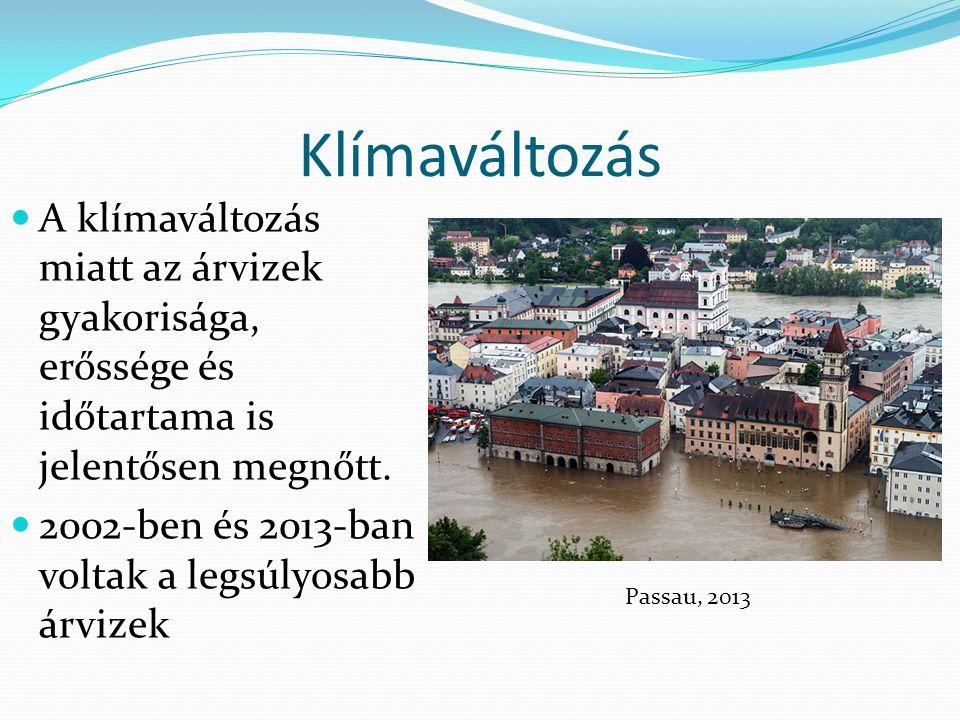 Klímaváltozás A klímaváltozás miatt az árvizek gyakorisága, erőssége és időtartama is jelentősen megnőtt.