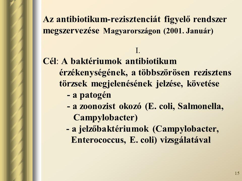 Az antibiotikum-rezisztenciát figyelő rendszer megszervezése Magyarországon (2001.