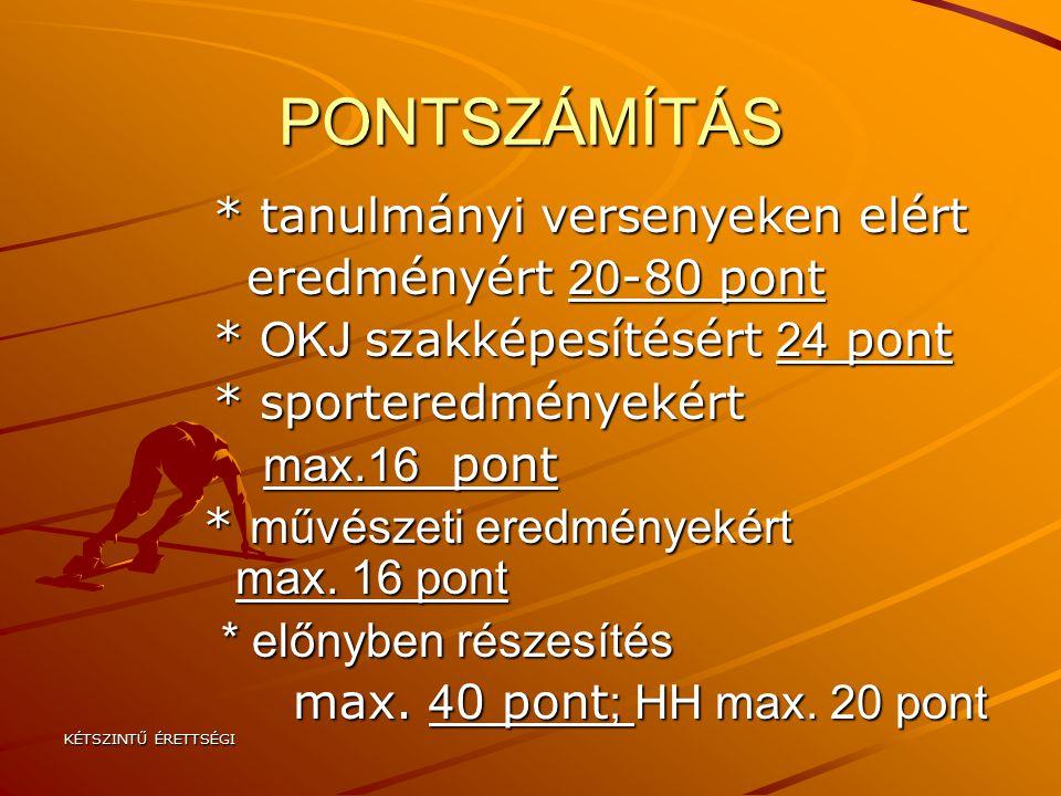 PONTSZÁMÍTÁS * tanulmányi versenyeken elért eredményért 20-80 pont