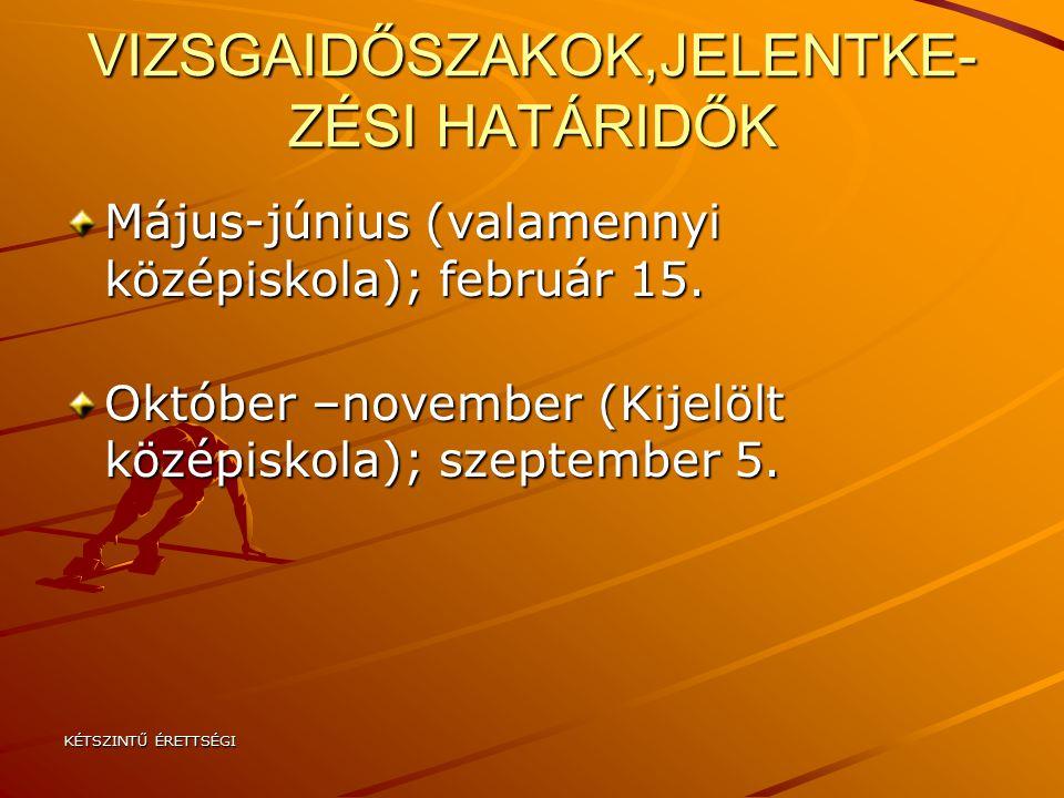 VIZSGAIDŐSZAKOK,JELENTKE-ZÉSI HATÁRIDŐK